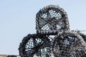 Close up image of shellfish fishing pots
